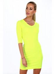 Dámske bavlnené šaty 2093, neónovo žlté