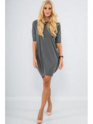 Dámske bavlnené šaty 3380, tmavo sivé