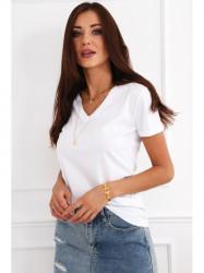 Dámske biele bavlnené tričko 4278