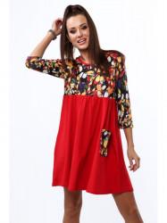 Dámske červené bavlnené šaty s potlačou 2212