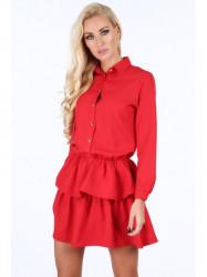 Dámske červené šaty s volánmi 5055