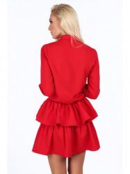 Dámske červené šaty s volánmi 5055 #1
