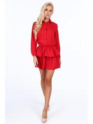 Dámske červené šaty s volánmi 5055 #3