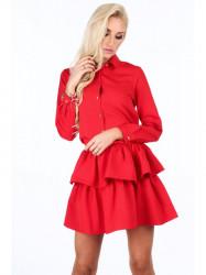 Dámske červené šaty s volánmi 5055 #4