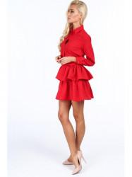 Dámske červené šaty s volánmi 5055 #5