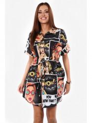 Dámske čierne šaty s farebnou potlačou 2227