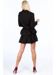 Dámske čierne šaty s volánmi 5055