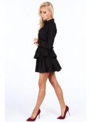 Dámske čierne šaty s volánmi 5055 #1