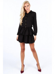 Dámske čierne šaty s volánmi 5055 #2