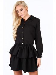 Dámske čierne šaty s volánmi 5055 #3