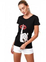 Dámske čierne tričko s potlačou 4282