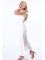 Dámske dlhé šaty ZZ337 krémové