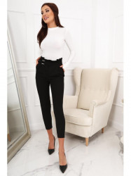 Dámske elegantné nohavice s vysokým pásom 0270, čierne