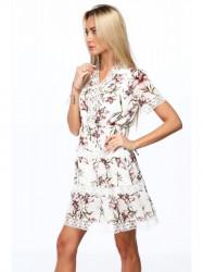 Dámske elegantné šaty s kvetmi 6942, krémové/hnedé