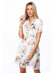 Dámske elegantné šaty s kvetmi 6942, krémové