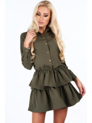 Dámske khaki šaty s volánmi 5055 #1
