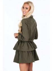 Dámske khaki šaty s volánmi 5055 #2