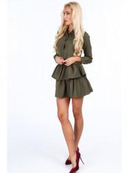 Dámske khaki šaty s volánmi 5055 #3