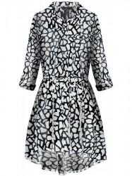 Dámske košeľové šaty so zvieracím vzorom 202ART, čierne/biele
