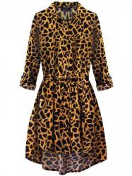 Dámske košeľové šaty so zvieracím vzorom 202ART, horčicové