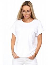 Dámske krátke tričko s vreckami MP13711, biele