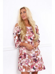Dámske kvetované šaty 17130, hnedé
