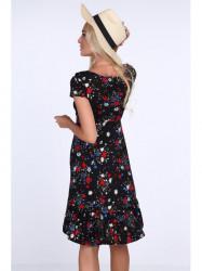 Dámske kvetované šaty 1773, čierne/červené