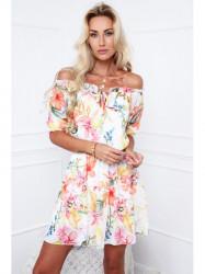 Dámske kvetované šaty 61935, krémové/oranžové