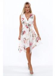 Dámske letné asymetrické šaty 0279, krémové
