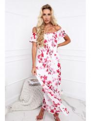 Dámske letné kvetované šaty 6173, krémové/bordové