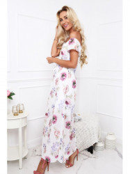 Dámske letné kvetované šaty 6173, krémové/fialové