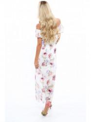 Dámske letné kvetované šaty 6173, krémové/fialové #1