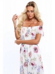 Dámske letné kvetované šaty 6173, krémové/fialové #2