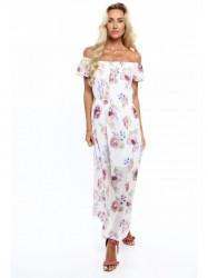 Dámske letné kvetované šaty 6173, krémové/fialové #3