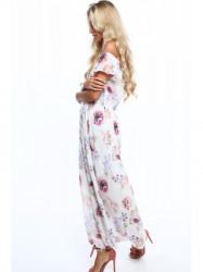 Dámske letné kvetované šaty 6173, krémové/fialové #4