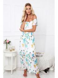 Dámske letné kvetované šaty 6173, krémové/mätové