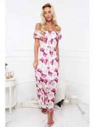 Dámske letné kvetované šaty 6173, krémové/slivkové