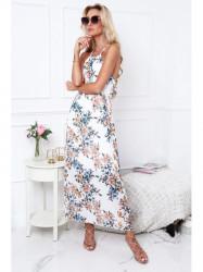 Dámske letné maxi šaty 0105, krémové/modré