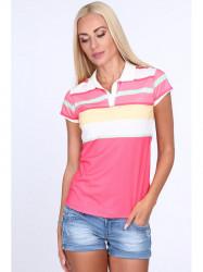 Dámske polo tričko s pruhmi 7609, ružové
