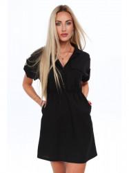 Dámske šaty s golierom 17920, čierne