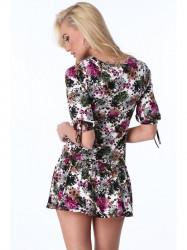 Dámske šaty s kvetmi 2887, farebné/hnedé