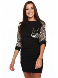 Dámské šaty s leopardím vzorom 2153, čierne