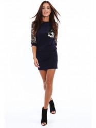 Dámske šaty s leopardím vzorom 2153, tmavomodré