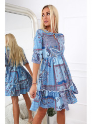 Dámske šaty s orientálnymi vzormi 20830, modré
