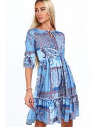 Dámske šaty s orientálnymi vzormi 20830, modré #4