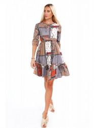 Dámske šaty s orientálnymi vzormi 20830, oranžové
