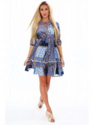 Dámske šaty s orientálnymi vzormi 20830, tmavomodré