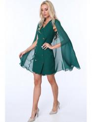 Dámske šaty s pelerínou G5173, zelené