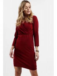 Dámske šaty s prekladaným výstrihom 4072, bordové #1
