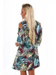 Dámske šaty s rastlinným motívom 1713, bordové #2